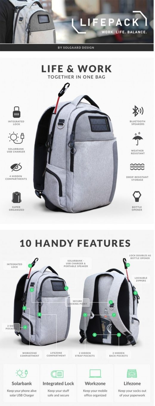 Lifepack: Solar Powered & Anti-Theft Backpack by Solgaard Design
