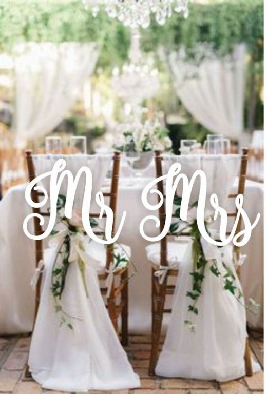 """Mr and Mrs Chair Signs – Gold Chair Signs – Wedding Decor Chair Signs-Please Enter your phone number in the """"NOTE to the seller"""""""
