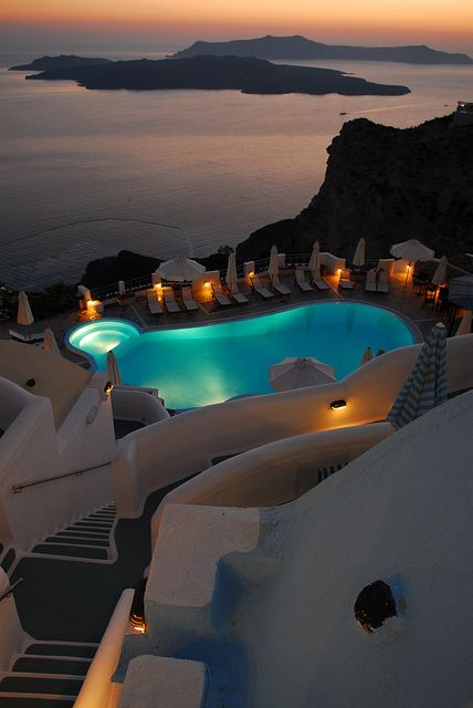 Santorini Hotel. Amazing view over the volcane. Best Hotels in the World. Luxury…