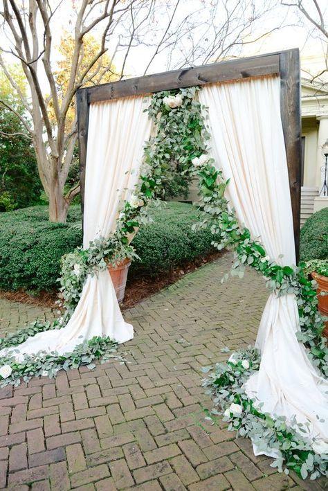 Wedding Ideas – Floral Garland + Ivory Draping Wedding Ceremony Ideas