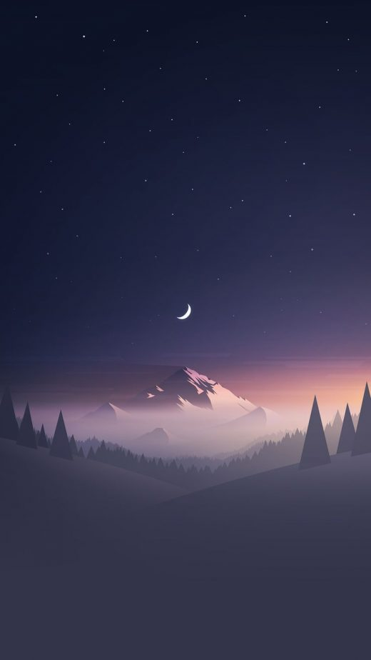Download Stars And Moon Winter Mountain Landscape iPhone 6+ HD Wallpaper