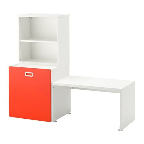 IKEA – STUVA / FRITIDS Table with toy storage white, red