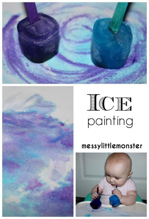 Taste Safe Ice Painting – a fun painting idea for toddlers