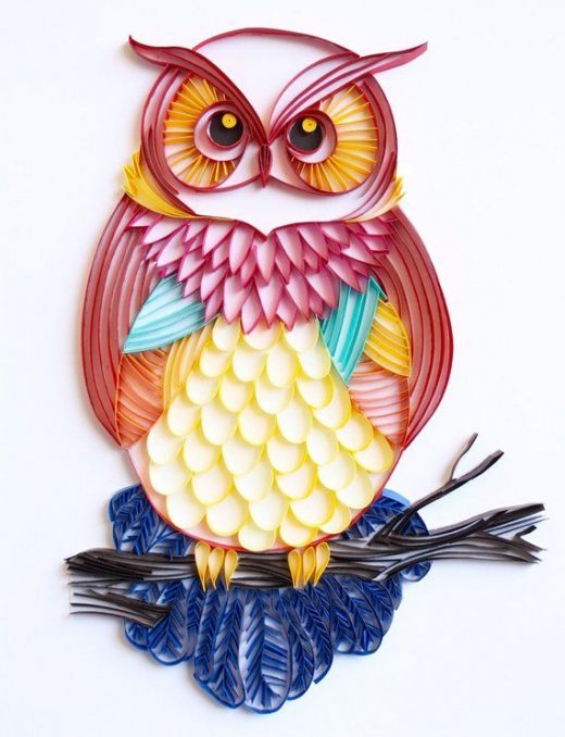 The Great Horned Owl – Unique Paper Quilled Wall Art for Home Decor (paper quilling handcrafted art
