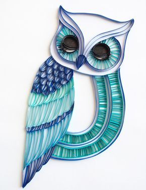 The Sleepy Owl – Unique Paper Quilled Wall Art for Home Decor (paper quilling handcrafted art piece
