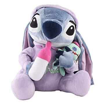 This large sized jumbo lilo and stitch plush is absolute perfect for littles! Featuring stitch in a onesie, holding a baby bottle, and cuddling his Scrump plush toy, this adorable stuffed animal is simply a must have! Made of soft, luxurious fabric, with solid stuffing that holds shape beautifully! A generous 30cm!