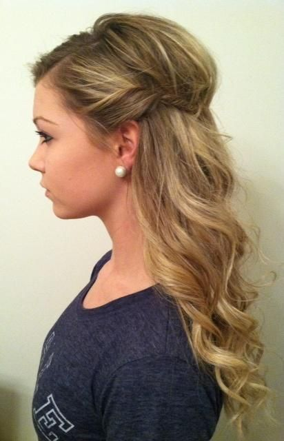 wavy curls with side twist