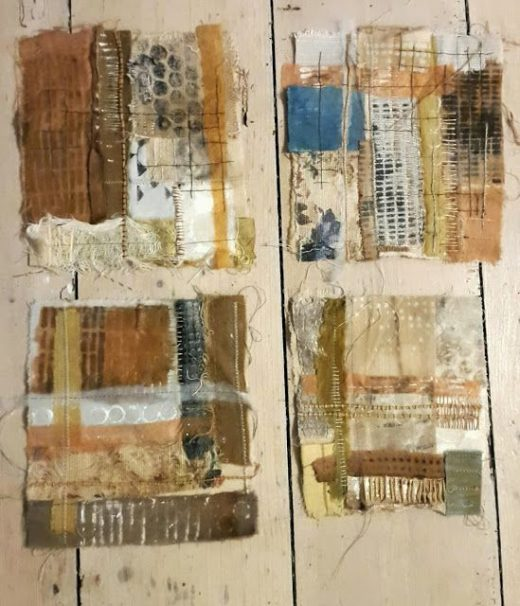 Julia Wright mixed media textile art pieces –  patchwork, embroidery, print