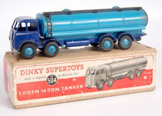 Lot 2064 – Dinky Toys, 504 Foden 14-ton tanker, dark blue first type cab and cha…