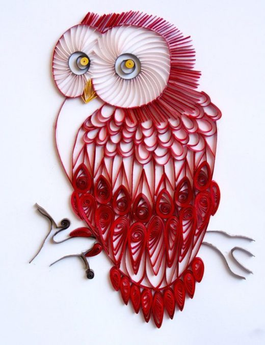 Red Velvet Owl – Unique Paper Quilled Wall Art for Home Decor (paper quilling handcrafted art piece made with love by artist in California)