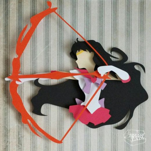 Sailor Mars with Fire Bow Arrow Moon Layered Paper Cut Art Piece 8″x8″ Shadowbox Frame