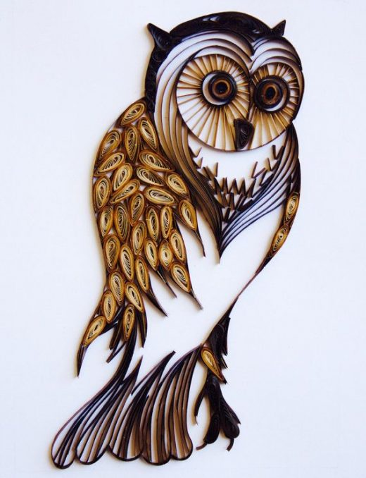 The Vintage Wise Owl – Unique Paper Quilled Wall Art for Home Decor (paper quilling handcrafted art piece made by an artist in California)