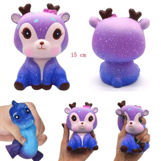 15CM Galaxy Deer Cream Scented Squishy Slow Rising Squeeze Strap Kids Toy Gift