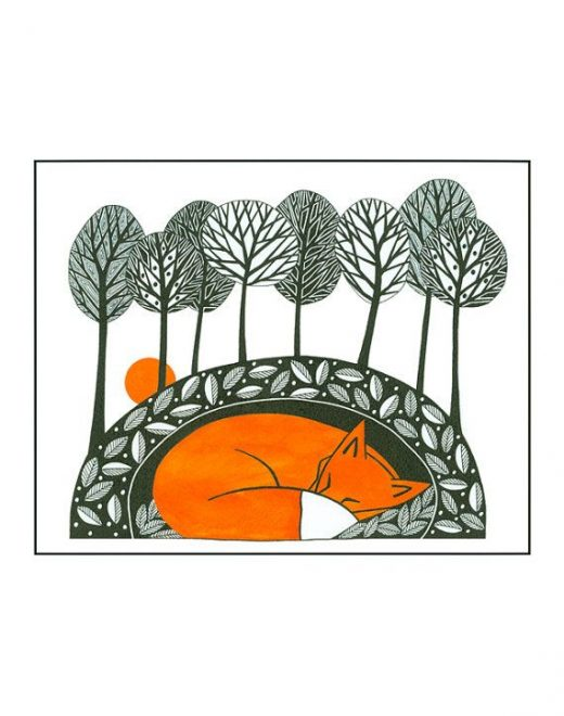 Fox illustration nature print, Pen and ink art, Fox illustration art, Graphic fox art, Fox print from my original painting, Sleeping fox 7×5