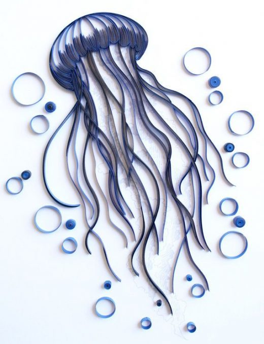 Jellyfish – Unique Paper Quilled Wall Art for Home Decor (paper quilling handcrafted art piece made with love by an artist in California)