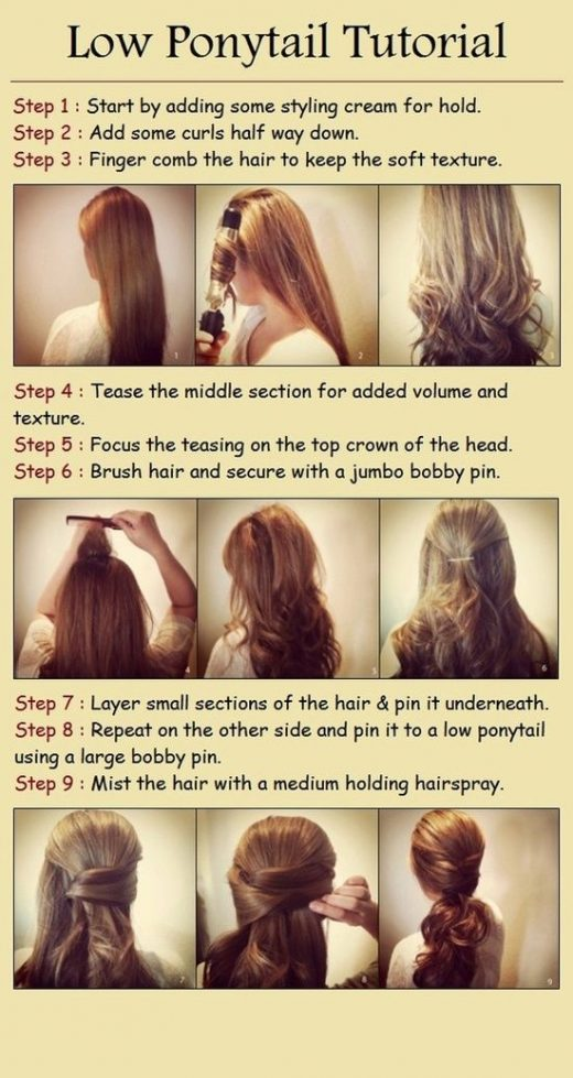 Low ponytail hairstyle for long hair step by step
