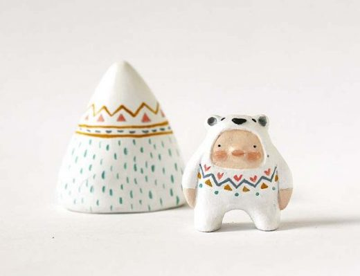 Polar bear boy miniature  Animal figurine  Paper by sweetbestiary, £27.00
