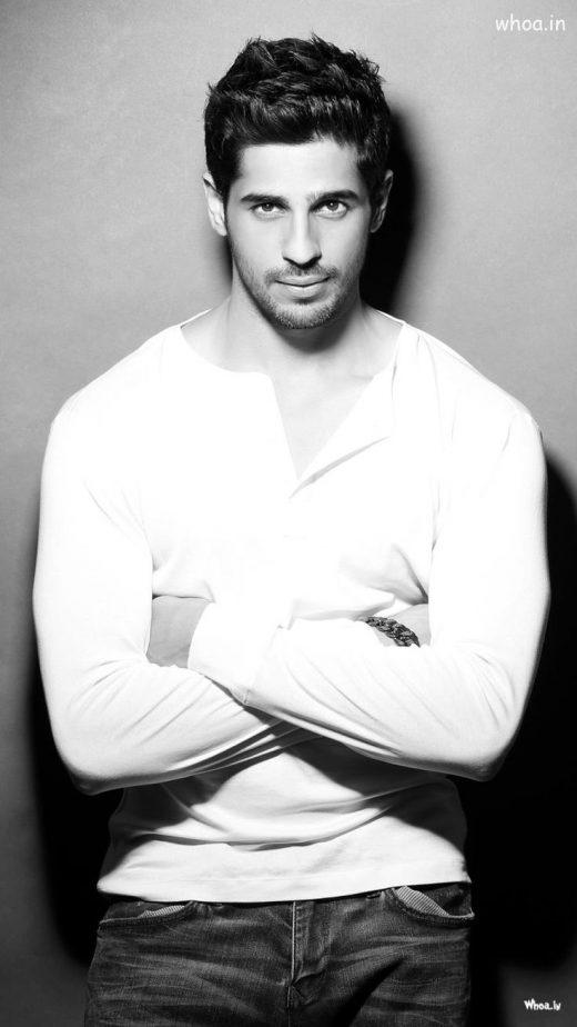 Siddharth Malhotra White T-Shirt With Black And White HD Wallpaper