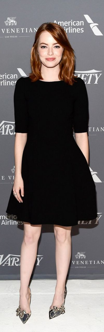 Who made Emma Stone's black dress, bow pumps, and jewelry? (OutfitID)