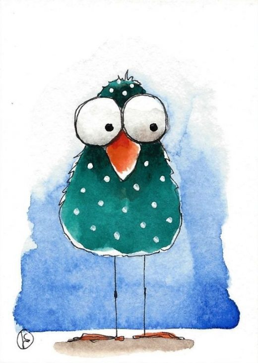 Details about ACEO Original watercolor whimsical painting folk art illustration green bird