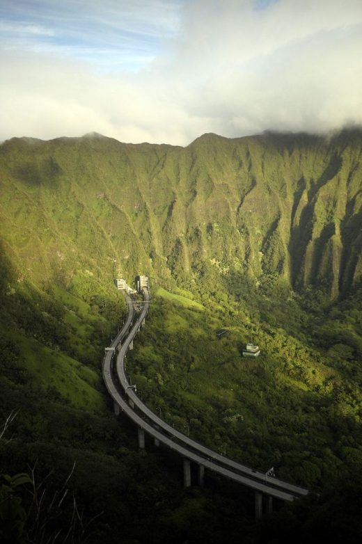 H3 Highway from Honolulu to Kaneohe, Hawaii.  You drive straight through these b…
