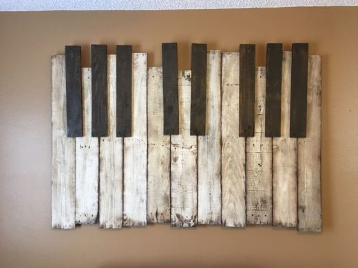 Haunted Mansion Piano Wall Art Piece, Pallet Wood, ~6'x4′