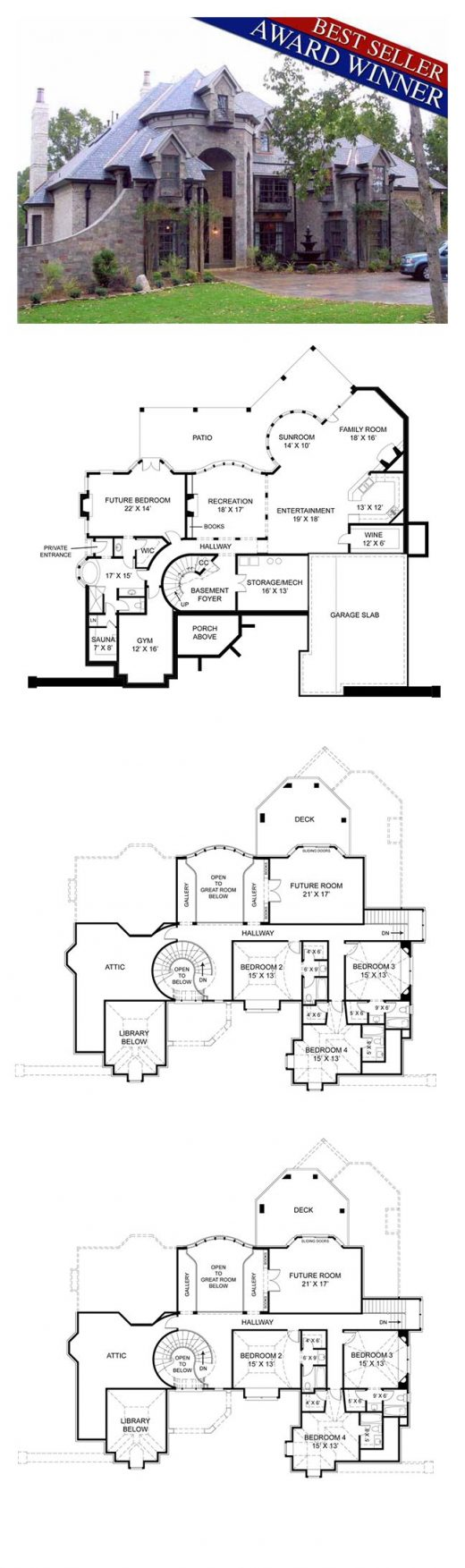 Luxury House Plan 72201   Total Living Area: 4041 sq. ft., 4 bedrooms and 4.5 ba…