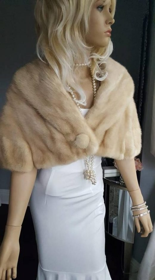 Luxury Vintage Mink Fur Stole – Bridal Fur Shawl Wrap – Beige TOURMALINE Mink Capelet Cape Real Fur Bridal Bolero Winter Wedding Gift