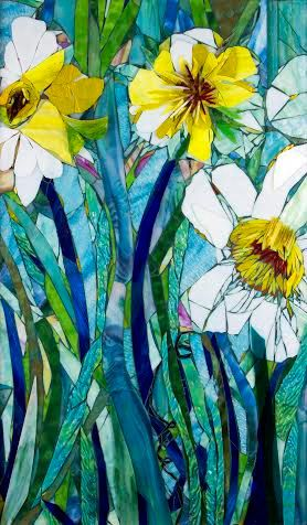 Mixed Media Mosaic, Giant Daffodils Mosaic Art, OOAC, Large Glass Art Piece