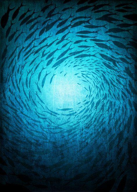 Ocean print – Mysteries of the Deep – Art illustration Giclee Print Love Art Sea artwork Ocean Love decor Art Poster Turquoise Kids wall art