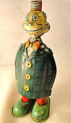 Old 1930s Happy Hooligan Wind-Up Walking Tin Litho J. Chein Toy – WORKS