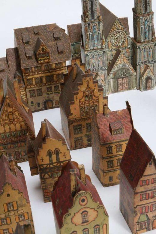 Rare Antique Toy Paper House Village, Lithograph Paper
