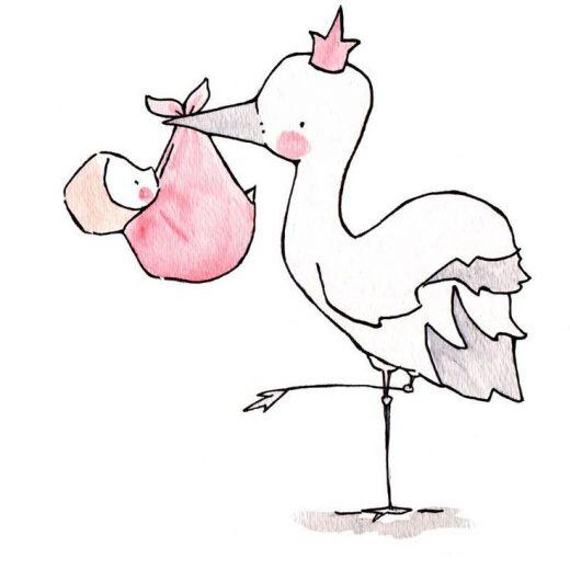 Stork Queen/King — Nursery Art Illustration Print, Pink, Blue