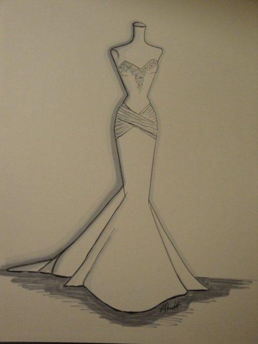 11″x 14″ Custom Wedding Dress Art   Illustration/ sketch