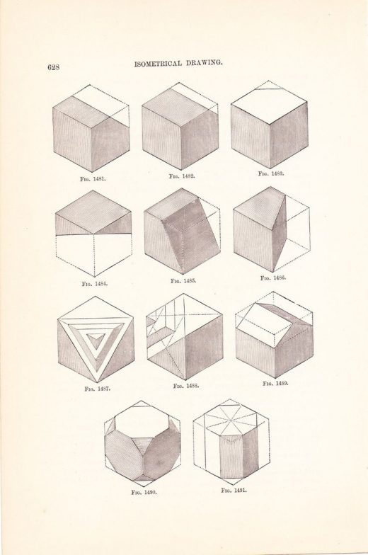 1886 Technical Drawing – Antique Math Geometric Mechanical Drafting Interior Design Blueprint Art Illustration Framing 100 Years Old