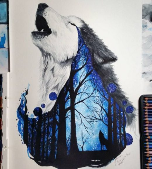 Wolf painting with a scene of the woods and a wolf howling withing the painting …