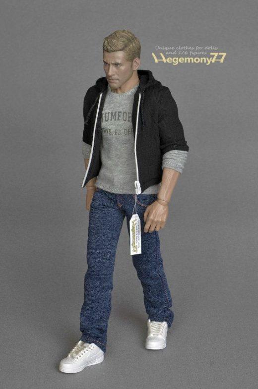 1/6 scale black zip hoodie inspired by Beverly Hills Cop Axel Foley Eddie Murphy