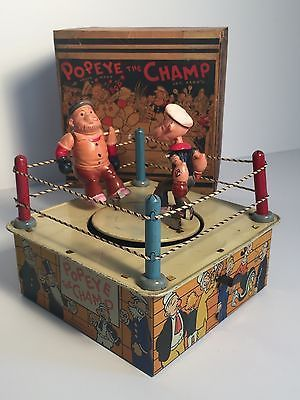 Details about Vintage Marx 1930's POPEYE THE CHAMP wind up tin toy