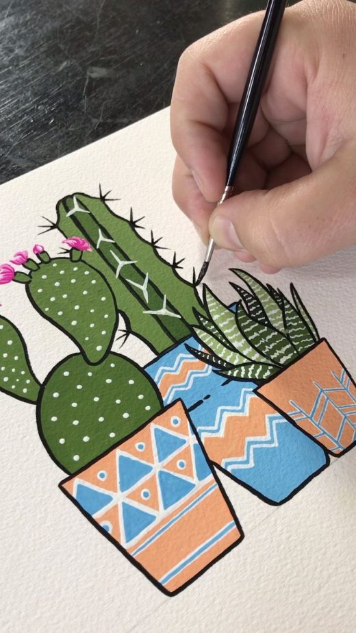 Gouache Painting Potted Cacti by Philip Boelter