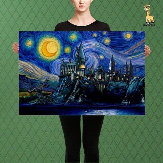 Harry Potter Inspired, Hogwarts Castle Parody, A Starry Night Over Hogwarts, Custom Raised Canvas Art Piece