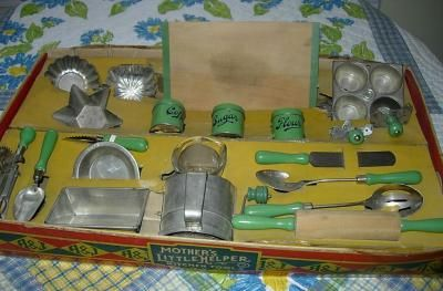 My Vintage Toy Kitchens, Large A Bake Set, sifter, cookie cutters, canisters, me…