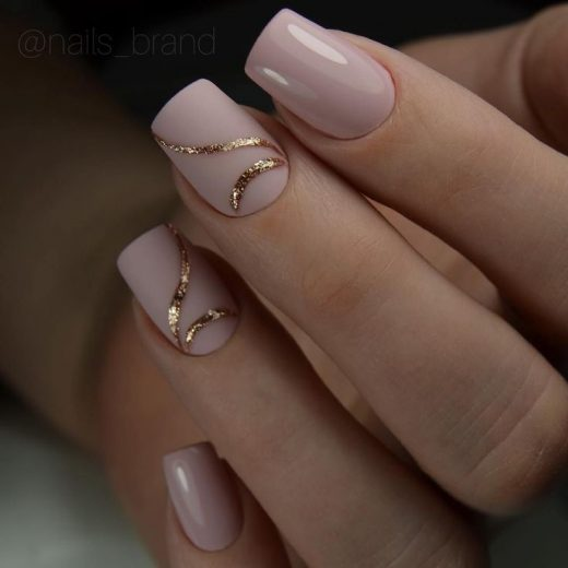 Nude And Gold Nails For Magnificence Gals 22