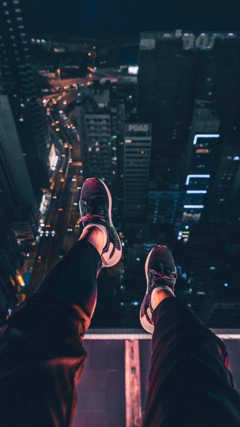 On the Building Roof in Night iPhone Wallpaper