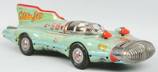 2664: Tin Litho Atom Jet Friction Race Car Toy. on