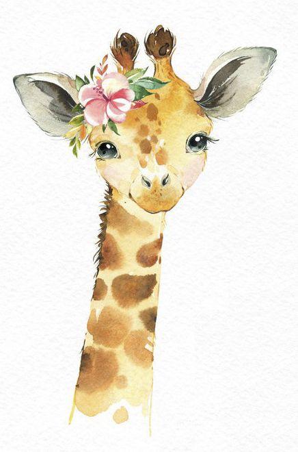 Africa Jirafa Mono Rhino Acuarela pequeños animales clipart safari sabana bebé retrato corona flores, niños, arte de la guardería, baby-shower