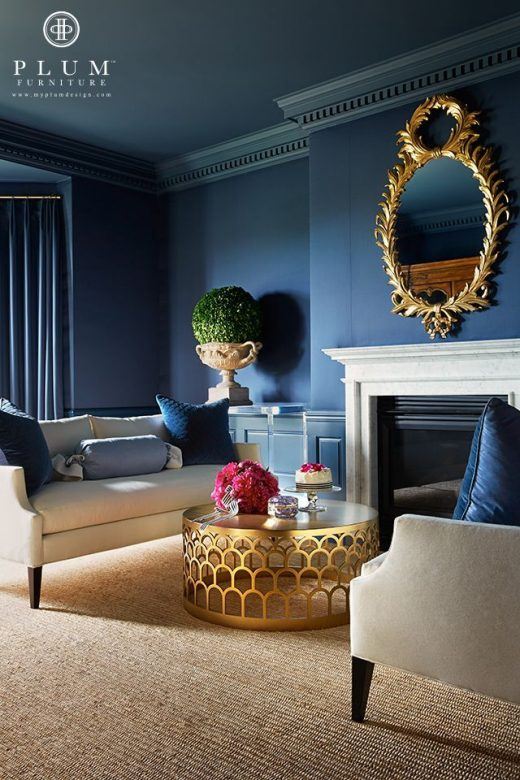Blue sofa, blue furniture, blue decor, living room, decor, room makeover, modern…