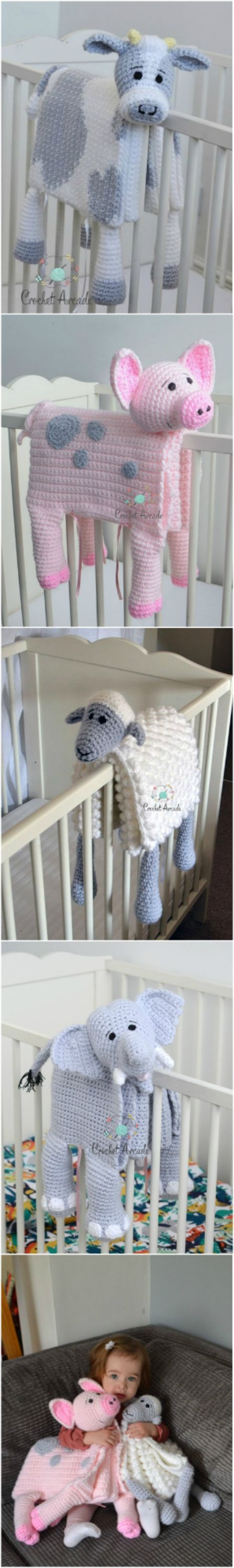 Crochet Animal Lovey Blanket Patterns Perfect For Baby