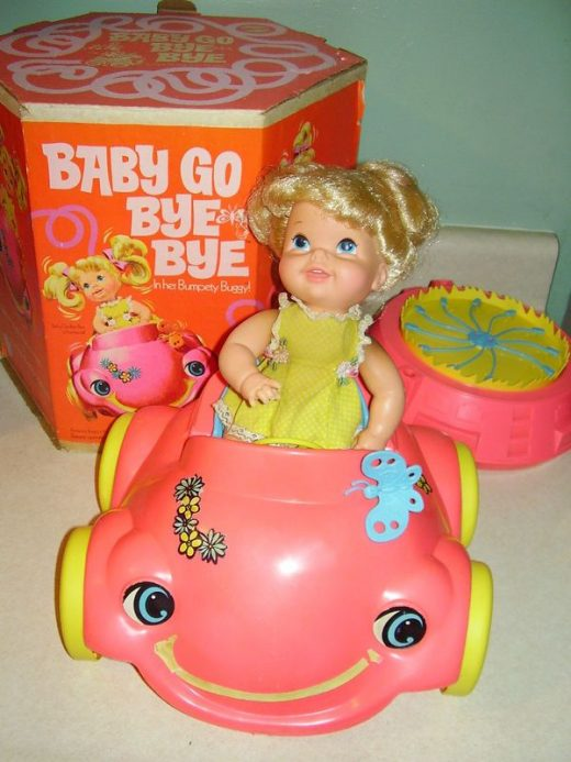 Details about Vintage 1969 MATTEL BABY GO BYE BYE DOLL & BUMPTY BUGGY Original Box