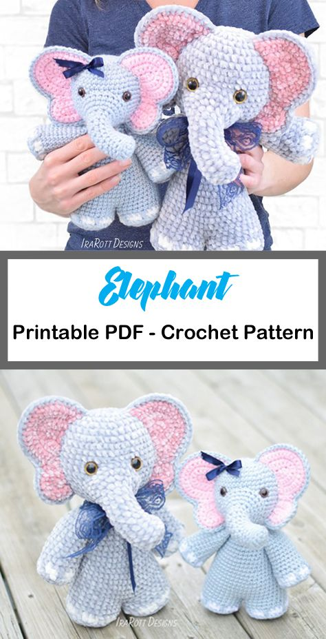 Elephant Crochet Patterns – Cute Toys – A More Crafty Life #amigurumi #crochet…