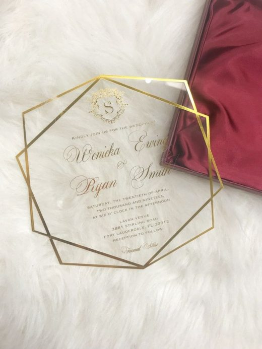 Personalized Custom Acrylic Clear Glass Wine Red Gold Geometric Themed Luxury Wedding Formal Invitation Design Set Suite